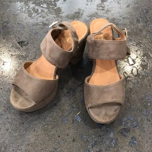 Grey/Taupe Suede Heels - Size 8